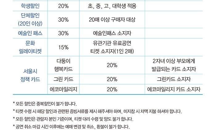 """학생할인 20% 초, 중, 고, 대학생 적용 단체할인 (20인 이상) 30% 20매 이상 구매자 대상 예술인 패스 30% 예술인패스 소지자 문화 릴레이티켓 15% 유관기관 유료공연 티켓 소지자(1인 2매) 서울시 정책 카드 다둥이 행복카드 20% 2자녀 이상 부모에게 발급되는 카드 소지자 그린 카드 20% 그린카드 소지자 에코마일리지 20% 에코마일리지 카드 소지자 * 모든 할인은 중복할인이 불가 합니다. * 티켓 수령 시 해당 할인과 관련된 증빙서류를 제시 해주셔야 하며, 미지참 시 차액 지불 하셔야 합니다. * 모든 할인은 관람자 본인 기준이며, 티켓 대리 수령 및 양도 불가 합니다. * 공연 취소 마감 시간 이후에는 예매 변경 및 취소, 환불이 불가 합니다. INFORMATIOM 할인정보 공연명 2017 세종 체임버 시리즈 <피아노로 써내려간 편지> 공연일시 2017년 4월 22일(토), 7월 1일(토), 9월 9일(토), 12월 23일(토) 17시 공연장소 세종 체임버홀 출연 4월 22일 PIANIST 김정원, VIOLINIST 김다미, CELLIST 심준호 7월 1일 PIANIST 김정원, BASS 손혜수 9월 9일 PIANIST 김정원, CELLIST Li-Wei Qin 12월 23일 PIANIST 김정원, PIANIST 손열음, PIANIST 선우예권 티켓 R석 5만원, S석 4만원 예매 세종문화티켓 02)399-1000, www. sejongpac.or.kr 인터파크 1544-1555, ticket.interpark.com 관람연령 만 7세 이상 관람 가능 (미취학 아동 입장 불가) 주최 (재)세종문화회관 공연관련 문의 (재)세종문화회관 공연기획팀 02)399-1611 Violin Base Piano Cello Cello Piano """"따뜻한 감성과 판타지, 아이디어가 넘쳐 시종일관 청중을 사로잡는 연주"""" - 피아니스트 Murray Perahia """"논리적인 해석을 바탕으로 연주하면서도 음악의 맛을 잃지 않는 피아니스트"""" - 피아니스트 Paul Badura-Skoda """"그의 다양한 음색은 거대한 오케스트라의 연주를 듣는 착각을 일으킨다."""" - 피아니스트 Adam Harasiewicz 2017 상주음악가, 피아니스트 김정원이 선사하는 사랑과 위로의 선율 실내악이 완성되는 아름다운 공간, 세종 체임버홀을 대표하는 정통 클래식 시리즈, 2017 세종체임버시리즈 <피아노로 써내려간 편지>가 관객들을 찾아간다. 세종 체임버 시리즈는 세종문화회관의 실내악 전용홀인 세종 체임버홀에서 진행되는 연간 프로젝트로 해마다 대표 아티스트를 상주 음악가(Artist in Residence)로 선정해 연간 4회에 걸쳐 다양한 편성의 실내악을 선보인다. 2015년 첼리스트 양성원, 2016년 마에스트로 임헌정에 이어 2017년 세종문화회관이 선정한 아티스트는 따뜻한 감성과 폭발적 에너지로 관객들의 큰 사랑을 받고 있는 피아니스트 김정원. <피아노로 써내려간 편지>라는 부제 아래, 연간 4회에 걸쳐 피아노 솔로에서부터 듀오, 트리오, 투 피아노, 포핸즈, 식스핸즈까지 피아노로 만나볼 수 있는 모든 편성의 실내악을 선보인다. 바이올리니스트 김다미, 첼리스트 심준호를 시작으로 베이스 손혜수, 첼리스트 Li-wei Qin, 그리고 피아니스트 손열음, 선우예권 등 최고의 아티스트들이 무대를 함께한다. 2017년 봄, 여름, 가을, 겨울에 한 차례씩 관객들을 찾아갈 이번 공연에서는 계절감이 느껴지는 서정적인 프로그램에 김정원 특유의 섬세한 에너지로 피아노로 느낄 수 있는 모든 낭만과 격동을 선사할 예정이다."""