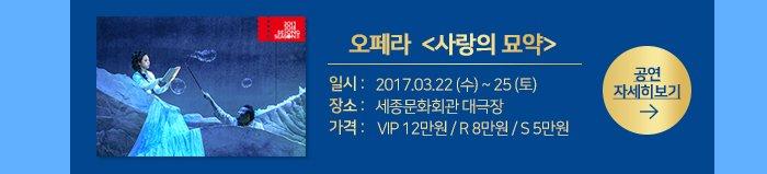오페라  <사랑의 묘약> dlftl 2017.3.22 수 25 토 장소 세종문화회관 대극장 가격 VIP 12만원 / R 8만원 / S 5만원 공연자세히 보기