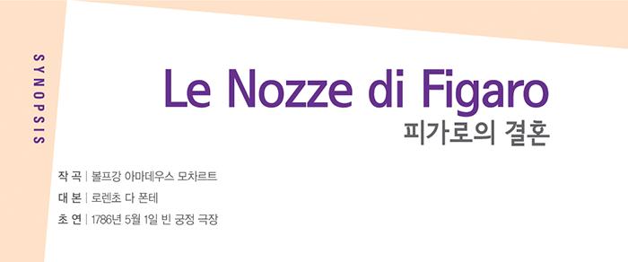 4월 오페라 마티네 피가로의 결혼 Le Nozze di Figaro    작곡 | 볼프강 아마데우스 모차르트 대본 | 로렌초 다 폰테 초연 | 1786년 5월 1일 빈 궁정 극장