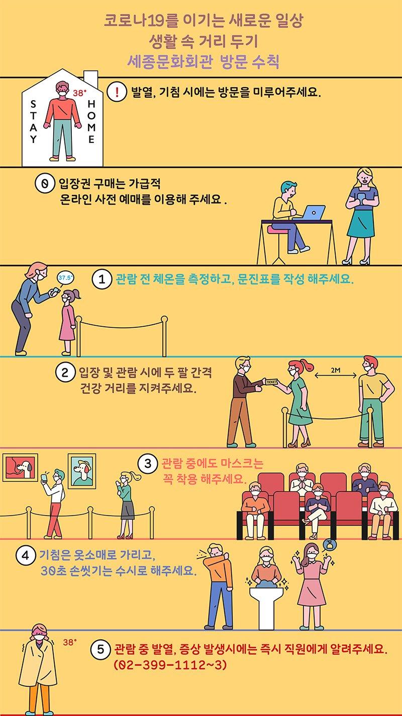 코로나19를 이기는 새로운 일상 생활  거리두기 세종문화회관 방문 수칙 !발열,기침시에는 방문을 미루어주세요 0 입장권 구매는 가급적 온라인 사전 예매를 이용해주세요 1관람전 체온을 측정하고 문진표를 작성해주세요 입장 및 관람시에 두팔 간격 건강거리를 지켜주세요 3 관람중에도 마스크는 꼭 착용해주세요 4 기침은 옷소매로 가리고 30초 손씻기는 수시로 해주세요 5 관람중 발열 증상 발생시에는 즉시 직원에게 알려주세요 02-399-1112~3 자세히 보기
