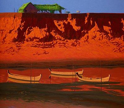민웨아웅(Min Wae Aung)(1960-), Orange River Bank, 캔버스에 아크릴, 2015, 150x173
