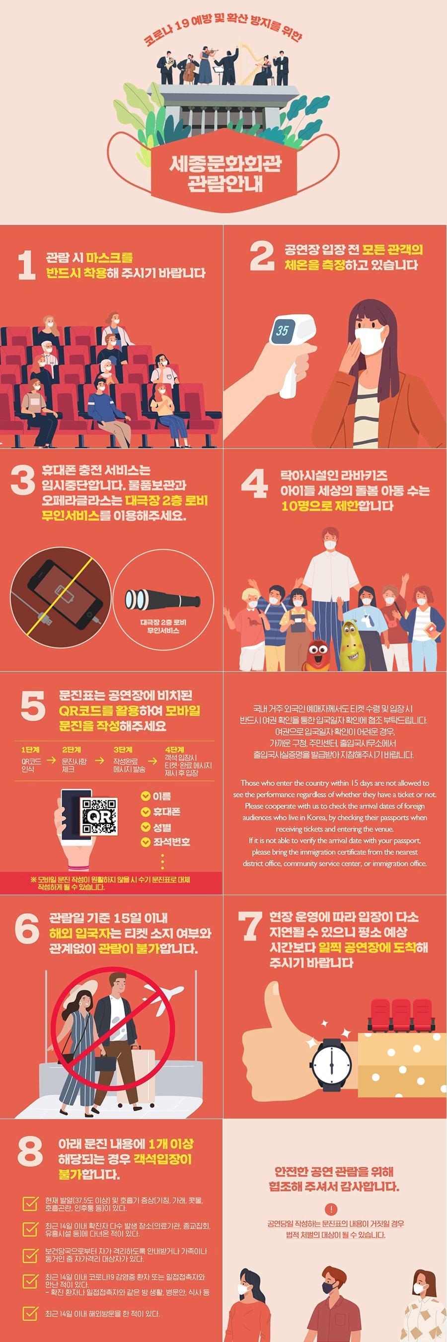 [세종문화회관 관람안내]   코로나19 예방 및 확산 방지를 위한 세종문화회관 공연관람 안내입니다.   1. 관람 시 마스크를 반드시 착용해 주시기 바랍니다.  2. 공연장 내 모든 관객의 체온을 측정하고 있습니다.  3. 오페라글라스 대여 및 휴대폰 충전 서비스는 임시 중단합니다.   4. 탁아시설인 아이들세상은 6월 16일부터 운영하며, 돌봄 아동 수는 10명으로 제한합니다.   5. 문진표는 공연장에 비치된 QR코드를 활용하여 모바일 문진을 작성해 주시기 바랍니다.    1단계 qr코드 인식 2단계 문진사항 체크 3단계 작성완료 메시지 발송 3단계 객석입장시 티켓 완료 메시지 제시후 입장  6. 관람일 기준 15일 이내 해외 입국자는 티켓 소지 여부와 관계없이 관람이 불가합니다.    국내 거주 외국인 예매자께서도 티켓 수령 및 입장 시 반드시 여권 확인을 통한 입국일자 확인에 협조 부탁드립니다.    여권으로 입국일자 확인이 어려운 경우, 가까운 구청, 주민센터, 출입국사무소에서 출입국사실증명을 발급받아 지참해주시기 바랍니다. Those who enter the country within 15 days are not allowed to see the performance regardless of whether they have a ticket or not. Please cooperate with us to check the arrival dates of foreign audiences who live in Korea, by checking their passports when receiving tickets and entering the venue. If it is not able to verify the arrival date with your passport, please bring the immigration certificate from the nearest district office, community service center, or immigration office.  7. 현장운영에 따라 입장이 다소 지연될 수 있으니 평소 예상 시간보다 일찍 공연장에 도착해 주시기 바랍니다.  8. 아래 문진 내용에 1개 이상 해당 되는 경우 객석 입장이 불가합니다.   1) 현재 발열(37.5도 이상) 및 호흡기 증상(기침, 가래, 콧물, 호흡곤란, 인후통 등)이 있다.   2) 최근 14일 이내 확진자 다수 발생 장소(의료기관, 종교집회, 유흥시설 등)에 다녀온 적이 있다.   3) 보건당국으로부터 자가 격리하도록 안내받거나 가족이나 동거인 중 자가격리 대상자가 있다.   4) 최근 14일 이내 코로나19 감염증 환자 또는 밀접접촉자와 만난 적이 있다.    - 확진 환자나 밀접접촉자와 같은 방 생활, 병문안, 식사 등   5) 최근 14일 이내 해외방문을 한 적이 있다.  안전한 공연 관람을 위해 협조해 주셔서 감사합니다.  ※ 공연당일 작성하는 문진표의 내용이 거짓일 경우 법적 처벌의 대상이 될 수 있습니다